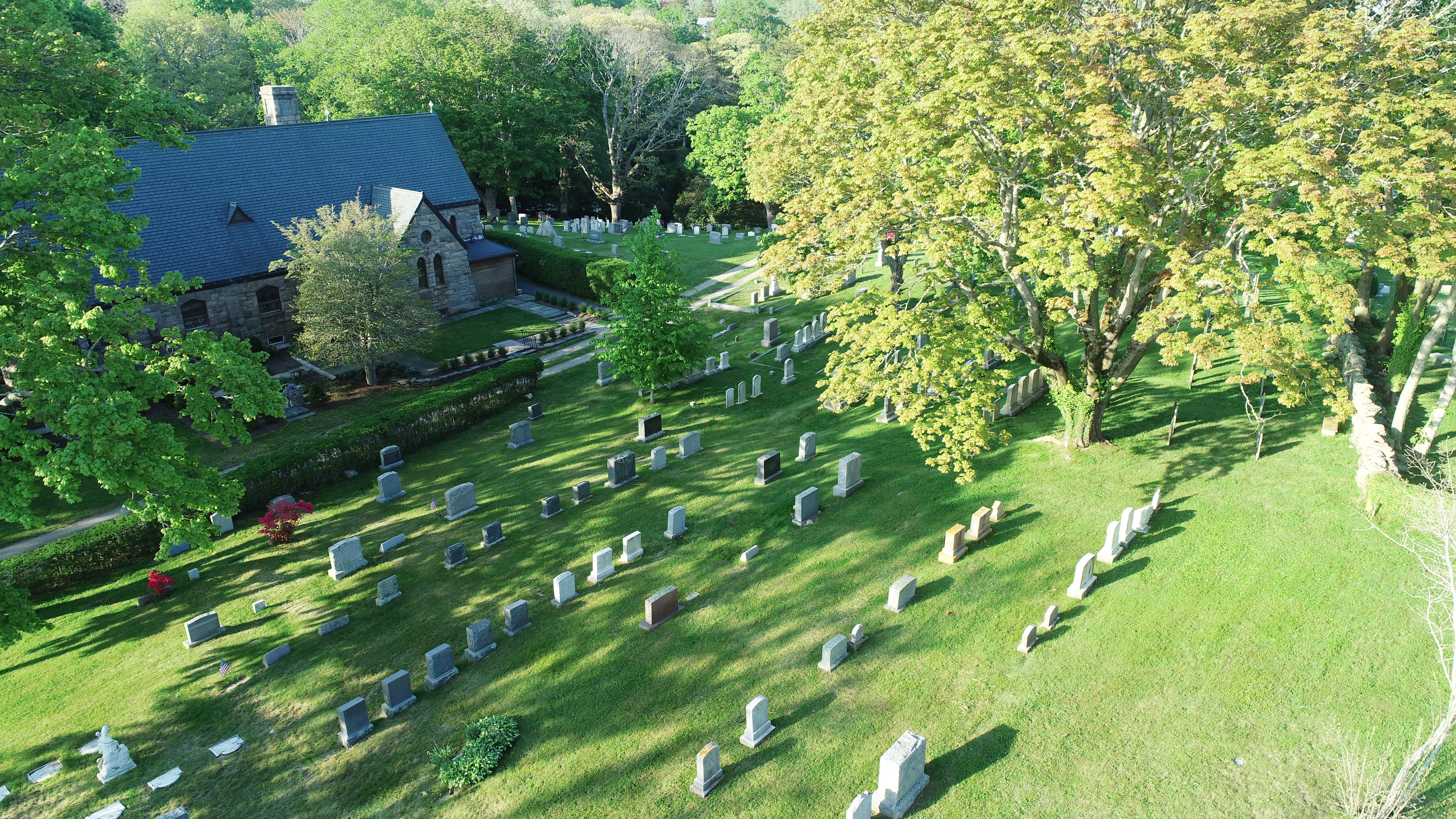 Church of the Messiah cemetery aerial view